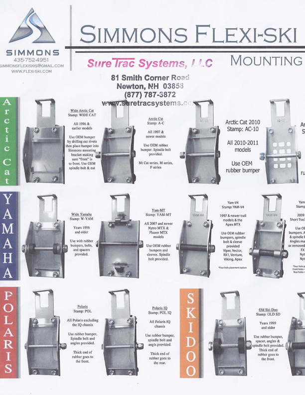 Simmons Ski Mounting Bracket Chart